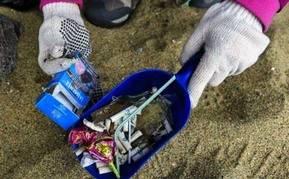Ni�os recogen toneladas de basura en playas chilenas