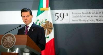 El presidente de M�xico, Enrique Pe�a Nieto, durante el evento en el que rechaz� el asesinato de Berm�dez.