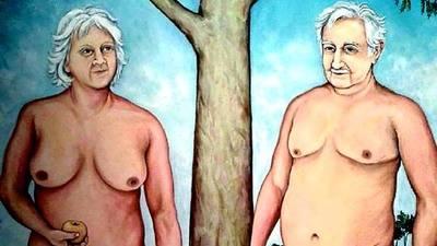 Pintura de Jos� Mujica y su esposa desnudos desata pol�mica