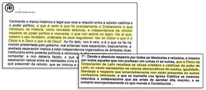 El PP insta a un ayuntamiento gallego a asumir la religión católica por ser la que representa 'valores democráticos'