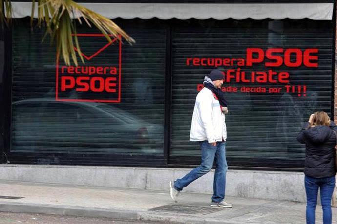La sede alternativa de Ferraz quita la palabra PSOE de la fachada