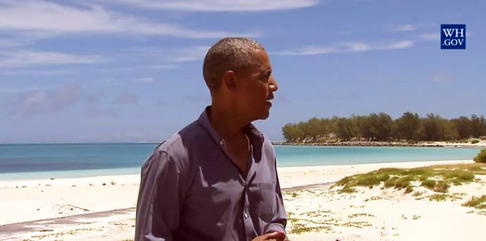 Barack Obama durante su visita a las islas Midway, en Hawái, en septiembre de 2016