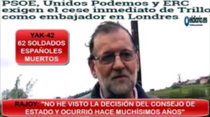 Rajoy, sobre el informe del Consejo de Estado del Yak-42: 'Eso ya está sustanciado judicialmente'