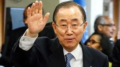 Ban Ki-moon salió por última vez de la sede de la ONU en medio del aplauso del personal de la Organización y de muchos embajadores acreditados