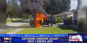 La explosión de un Note 7 provocó en este caso el incendio de un automóvil