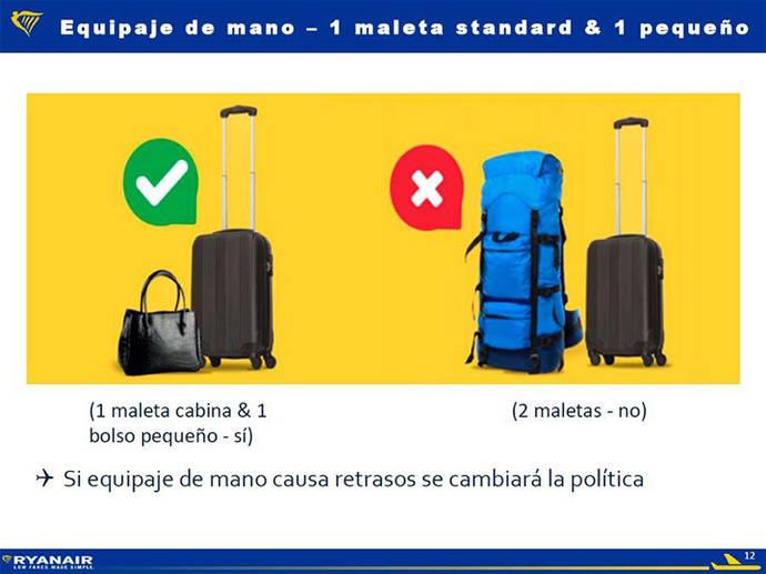 *Diapositiva utilizada por Ryanair en la que anuncia que 'si el equipaje de mano causa retrasos se cambiará la política' de equipaje