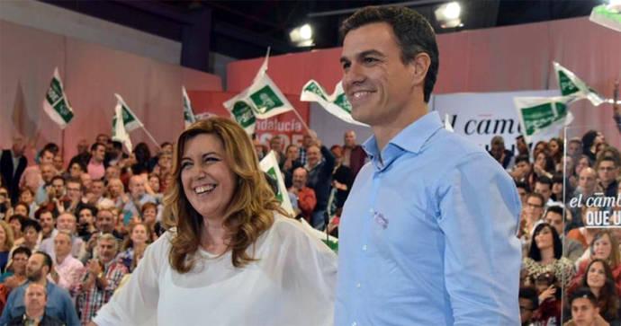Susana Díaz y Pedro Sánchez en un acto de la campaña electoral de 2015/ Flickr PSOE