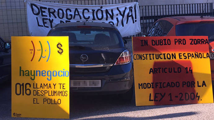 Colocan carteles en los juzgados de violencia de género de Madrid: