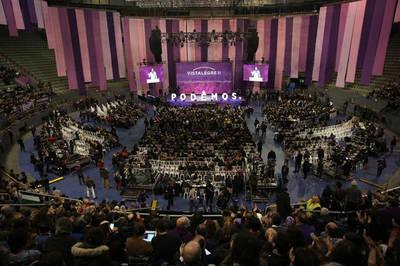 Vista general de Vistalegre durante el discurso de Pablo Iglesias/ Marta Jara