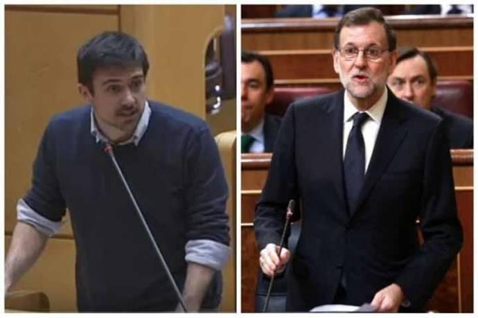 El senador Ramón Espinar - Mariano Rajoy, presidente del Gobierno español. (Captura de video)
