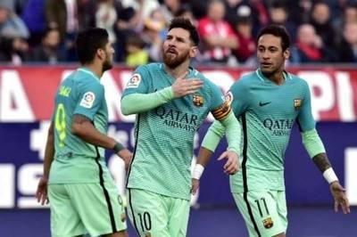 Lionel Messi marcó el gol de triunfo para Barcelona, este domingo, en el estadio Vicente Calderón