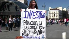Protesta de científicos en la Puerta del Sol de Madrid, en una imagen de archivo