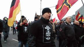 Manifestación en Berlín de un grupo ultraderechista