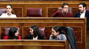 Los diputados de Unidos Podemos en su nueva ubicación en el Congreso de los Diputados, tras Vistalegre 2