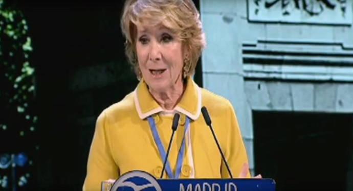 Esperanza Aguirre, durante su intervención en el 16 Congreso Regional del PP de Madrid