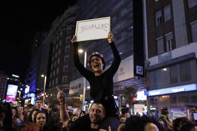 Una mujer en la manifestación del Día Internacional de la Mujer