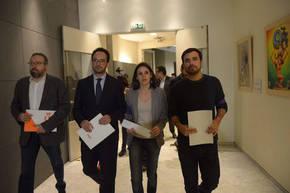 Los portavoces de Ciudadanos, PSOE y Unidos Podemos, Juan Carlos Girauta, Antonio Hernando, Irene Montero y Alberto Garzón