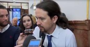 Pablo Iglesias, este miércoles en los pasillos del Congreso de los Diputados