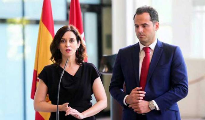 Isabel Díaz Ayuso e Ignacio Aguado, durante la presentación de su acuerdo de gobierno.