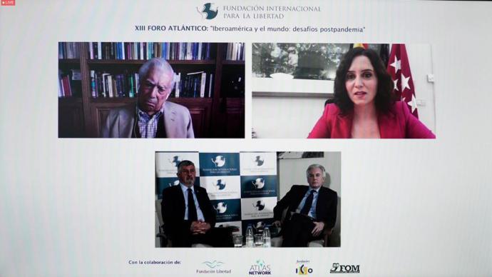 La presidenta de la Comunidad de Madrid, Isabel Díaz Ayuso, durante una conferencia de la Fundación internacional para la libertad.