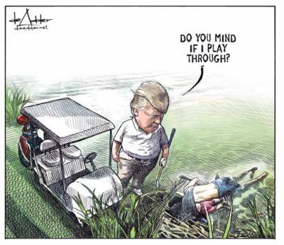 """""""¿Les molesto si sigo jugando?"""", dice Trump mirando  los cadáveres"""