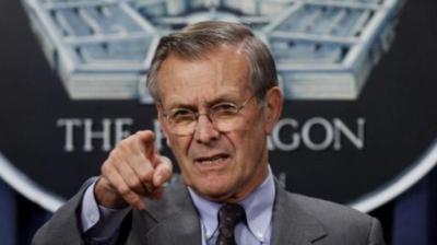 Donald Rumsfeld en imagen de archivo