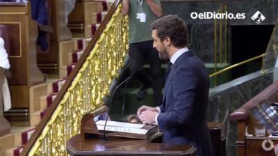 Pablo Casado, este miércoles, durante el debate sobre los indultos en el Congreso.(captura de pantalla)
