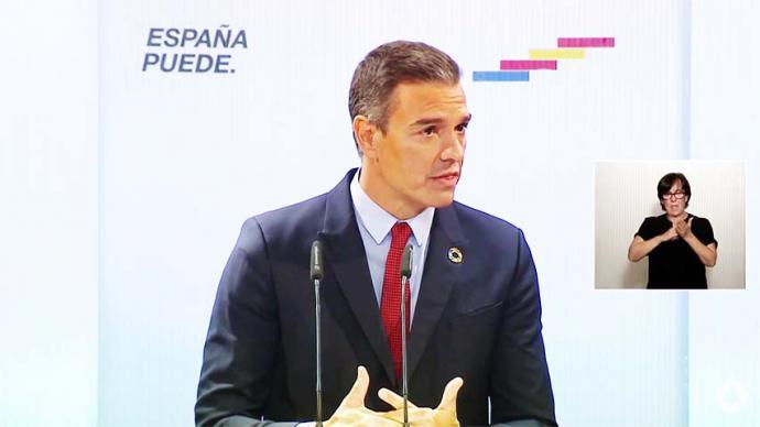 El presidente del Gobierno, Pedro Sánchez, durante la conferencia en la Casa de América (CAPTURA DE PANTALLA)