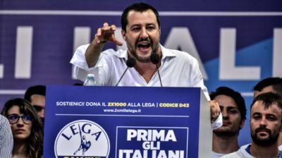 El líder de la ultraderechista Liga, Matteo Salvini, ministro de Interior en Italia