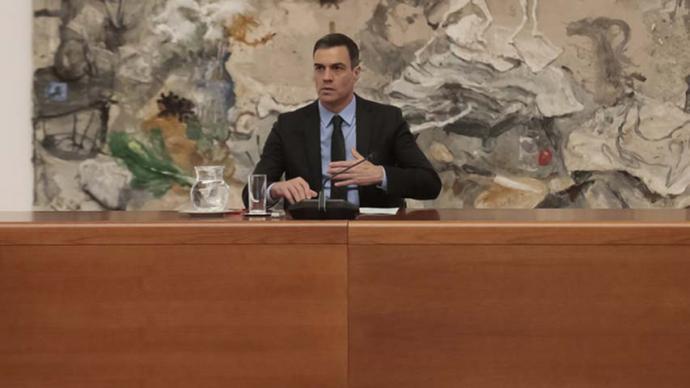 Pedro Sánchez este lunes en Moncloa.JM CUADRADO (MONCLOA)