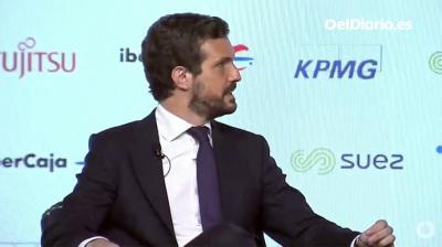 Pablo Casado, este martes, durante un desayuno informativo de Europa Press (captura de pantalla)