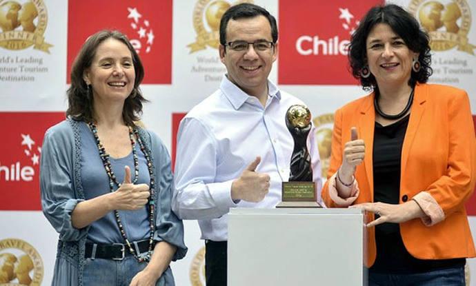 Directora Nacional de Turismo, Marcela Cabezas, Ministro de Economía Fomento y Turismo, Luis Felipe Céspedes y Subsecretaria de Turismo, Javiera Montes.