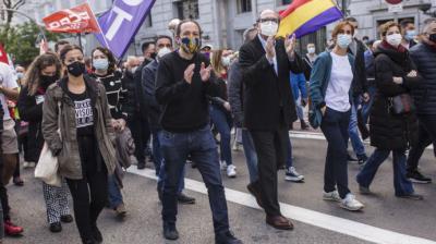 Iglesias, Gabilondo y García en la manifestación del 1 de mayo.Alejandro M. Vélez / Europa Press