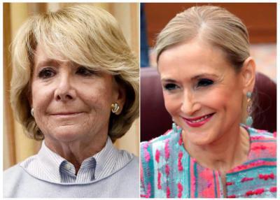 Las ex presidentas de la Comunidad de Madrid Esperanza Aguirre (i) y Cristina Cifuentes
