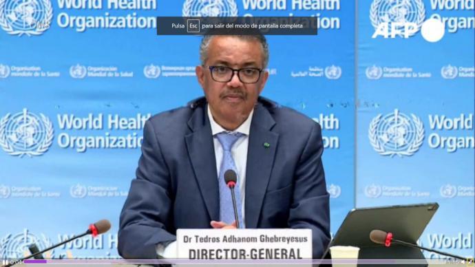 El director general de la Organización Mundial de la Salud (OMS), Tedros Adhanom Ghebreyesus (Captura de pantalla)