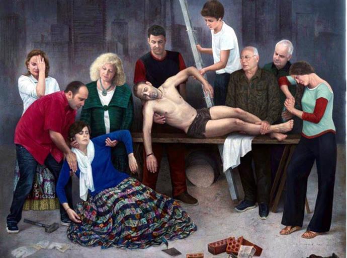 """Soledad Fernández recrea el """"Descendimiento"""" de Van der Weyden en pintura con estética actual"""