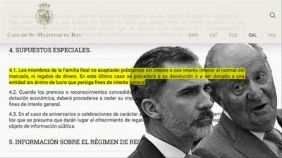 La normativa impuesta por Felipe VI prohíbe a Juan Carlos I recibir préstamos sin interés o inferior a mercado