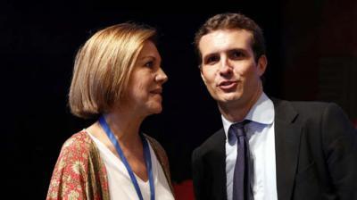 Casado junto a Cospedal en el Congreso del PP del pasado julio. MARTA JARA