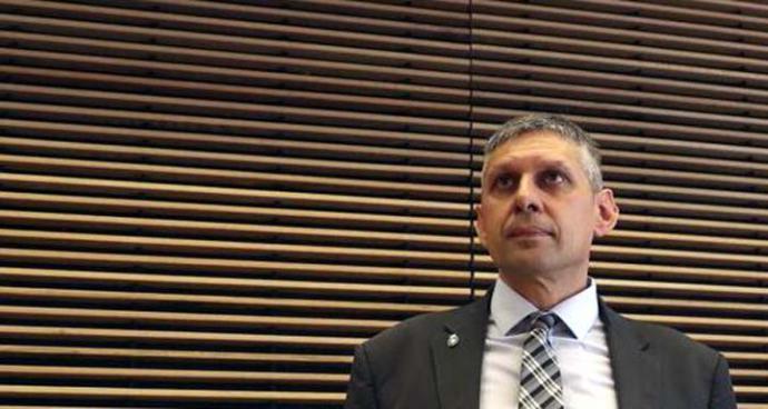 El inspector jefe José Ángel Fuentes Gago durante su declaración ante la comisión de investigación de la policía política en el Congreso