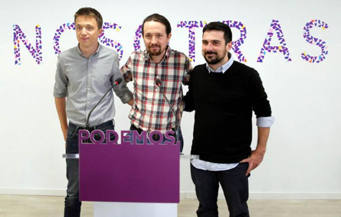 El líder de Podemos, Pablo Iglesias entre Íñigo Errejón y Ramón Espinar en una imagen de archivo