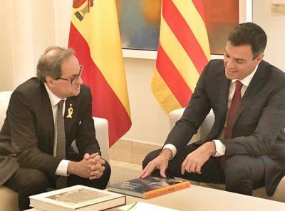 Pedro Sánchez y Quim Torra en el Palacio de la Moncloa.