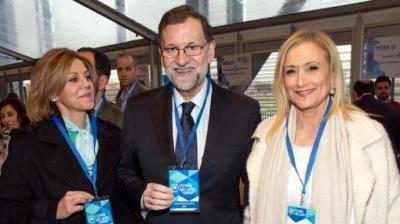 Mariano Rajoy, junto a Cristina Cifuentes y María Dolores de Cospedal