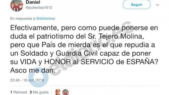 Veinte días de empleo y sueldo para el comisario cesado por insultar en Twitter a políticos de izquierdas y nacionalistas