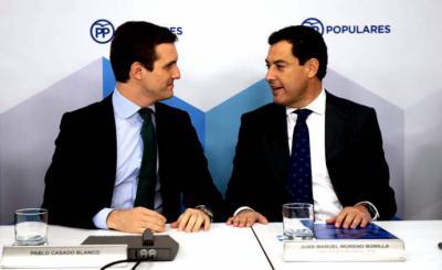 Pablo Casado y Juanma Moreno, el pasado lunes, en Génova. FLICKR PP
