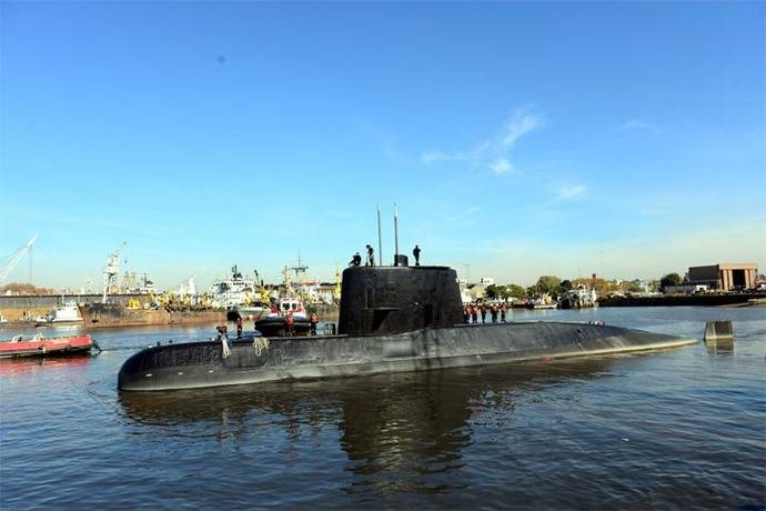 El submarino argentino ARA San Juan