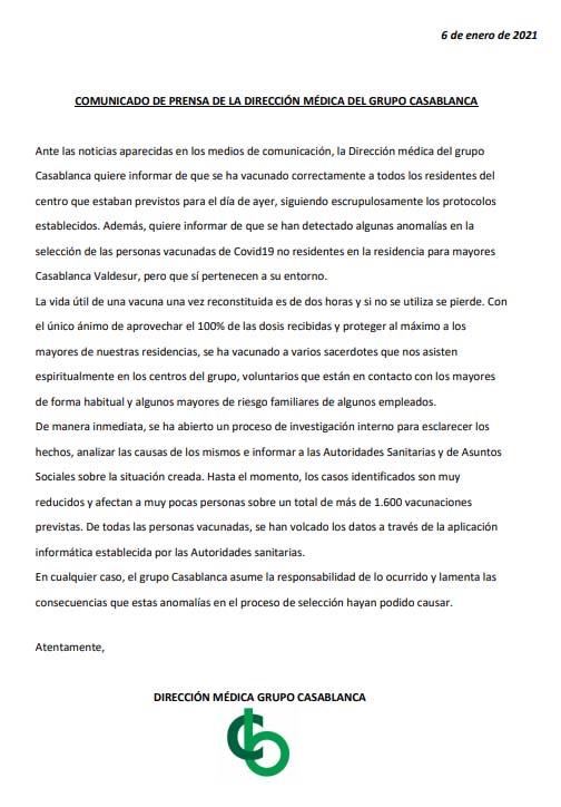 La residencia de Madrid que coló a familiares de trabajadores admite ahora 'anomalías' en su vacunación