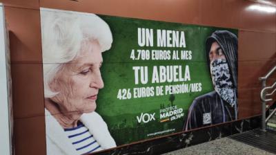 Cartel de Vox en la Puerta del Sol.elDiario.es