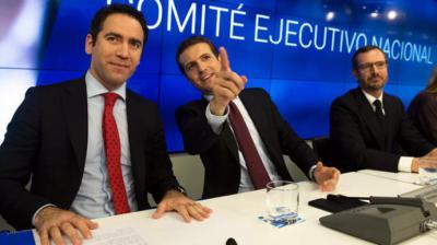 Teodoro García Egea, Pablo Casado y Javier Maroto, la semana pasada. FLICKR PP