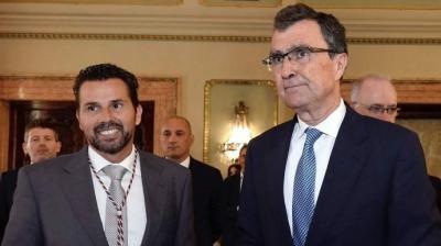 De izquierda a derecha: Mario Gómez, concejal de Fomento y portavoz de Ciudadanos municipal, y José Ballesta, alcalde de Murcia