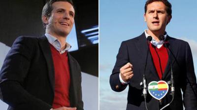 Pablo Casado y Albert Rivera coincidieron en su atuendo en la última jornada de campaña en Andalucía